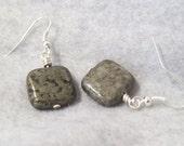 Pyrite Bead Earrings, Drop Earrings, Dangle Earrings
