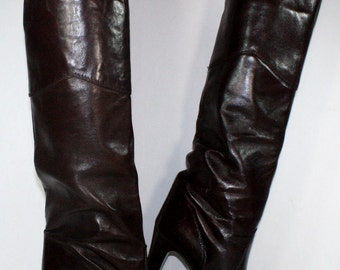 Vintage maroon burgundy riding knee high tall womens Leather high heel fashion boots 6.5 M B