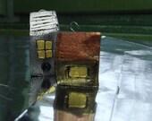 Little House - OOAK Pendant - artisan jewelry- Modelling Clay Art Sculpture - Wearable Art