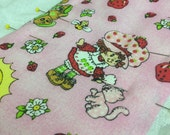 Strawberry Shortcake cotton print burp cloth - burp rag