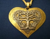 Vintage Sterling Silver and Brass Necklace Heart Tree Birds Amazing Unique Rare J C