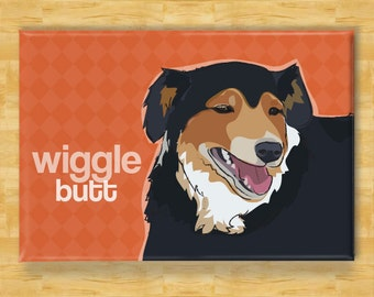 Australian Shepherd Magnet - Wiggle Butt - Black Australian Shepherd Gift Fridge Refrigerator Dog Magnets