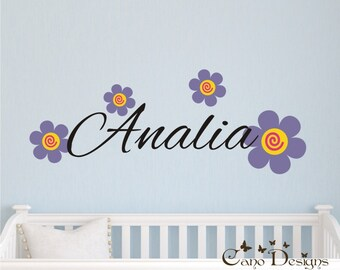 Personalized Name with  Flowers, Custom Vinyl wall decals stickers, living room, nursery, kids & teens room, removable decals stickers