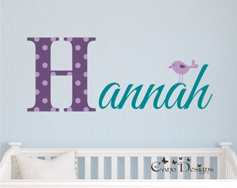Monogram Name with bird, Initial and name vinyl decal, nursery, kids & teens room, custom removable decals stickers
