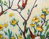 "Reserved for Karen - 24""x48"" Two Birds in Yellow Field"