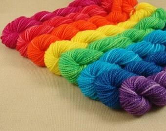 Mini Skeins Rainbow - Set of 8 - Hand Dyed Fingering Sock Weight Yarn - 100% Fine Organic Superwash Merino Wool