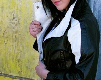 Vintage 1980s Black and White COLORBLOCK Leather Motorcycle Jacket