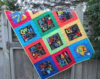 Baby Quilt ABC, New Zealand, Kiwiana, Nursery Decor, Baby Bedding,  MADE to ORDER