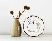 75% OFF - Embroidered Green Apple with Brown Stem and Hunter Green Leaf - 6 inch Hoop Art - Perfect Gift for School Teacher