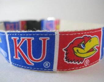 Kansas Jayhawks hemp dog collar or leash