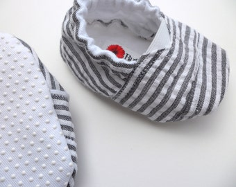 Gray and White Striped Toms Inspired Baby Shoes - Size 0-18 Months