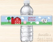 Personalized Birthday Water Bottle Labels with Barnyard Farm Animal Theme - 1st Birthday - 28 labels