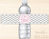 """Grey and Lavender or Pink Modern Chevron """"It's a Girl"""" Waterproof Water Bottle Labels - 49 Labels"""