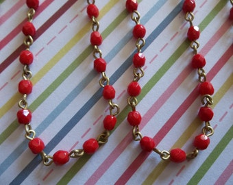 Bead Chain Rosary Chain Opaque Red 4mm Fire Polished Glass Beads on Brass Beaded Chain - Qty 18 Inch strand