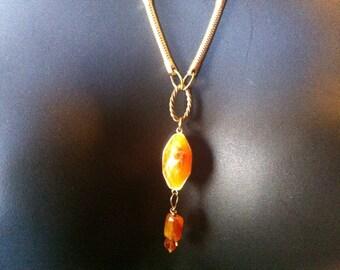 Recycled Orange Pendant  Necklace