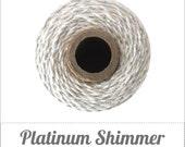 Platinum Shimmer Twine - Metallic Silver & Natural Twine - 240 yard