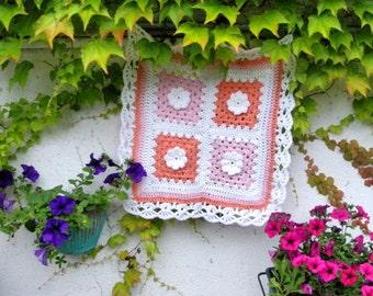 Pink Baby Blanket Photo prop Basket filler Cradle Baby Blanket Crochet basket stuffer Newborn Photo prop White Roses Hippy baby Blanket