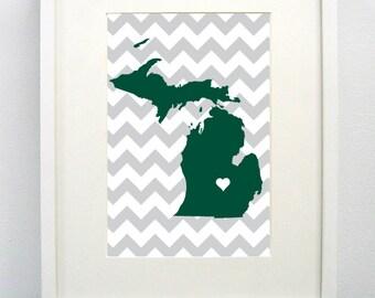 East Lansing, Michigan State Giclée Map Art Print  - 8x10 - Green and Gray Map Art -  Graduation Gift Idea - Dorm Decor