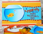 Printable Valentine Goldfish Topper, Personalized with child's name, Classroom Healthy Treat