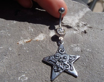 Steampunk Star Belly Button Ring