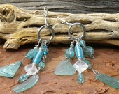 Summer Rain Ancient Roman Glass and gemstone earrings