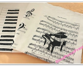 Fat Quarter--Linen Cotton Blended Fabric - Piano Melody