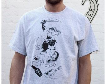 SALE Pirate gray tshirt cute fox sexy treasure message in a bottle street urban tee Men Mens S M L XL