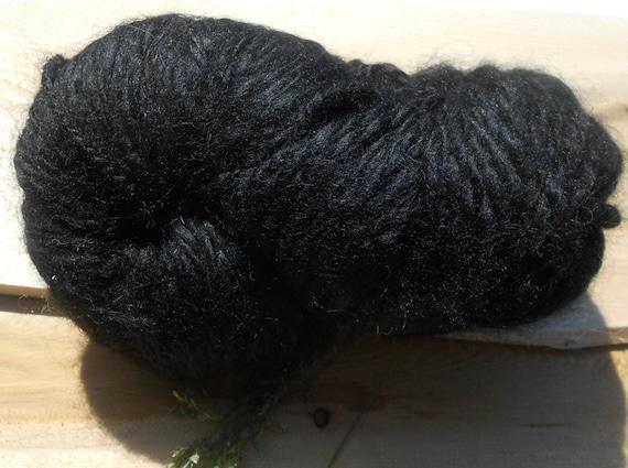Handspun Black Baby Alpaca Yarn: Nyx I