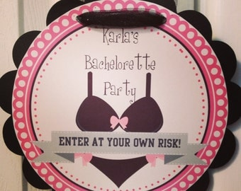 Bachelorette Door Sign, Bachelorette Party Decor, Wall Banner, Wall Decor, Black and Pink