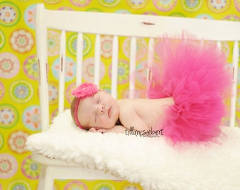 Hot Pink Fuschia newborn tutu with headband....newborn tutu, baby tutu, birthday tutu, photography prop