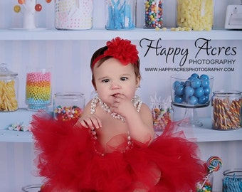 RED TUTU with shabby chic style headband....newborn tutu....baby tutu....photography prop....size nb-2T