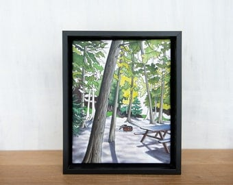Original Painting, camping, hiking - 8 x 10 acrylic on canvas 'Site 7' by Mara Minuzzo, Gone Camping series, framed