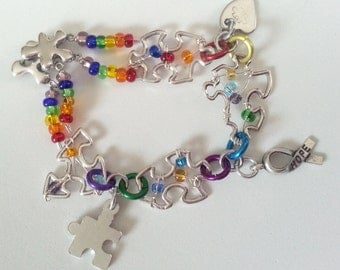 Sterling Silver Beaded Puzzle Piece Charm Bracelet - Autism Awareness