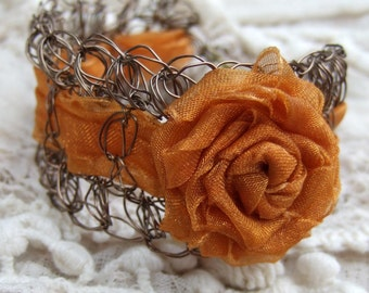 Orange Wire Crochet Cuff Bracelet - Antique Brass Rose Bracelet - Rose Corsage Bracelet - Unique Wedding Jewelry - Woodland Wedding