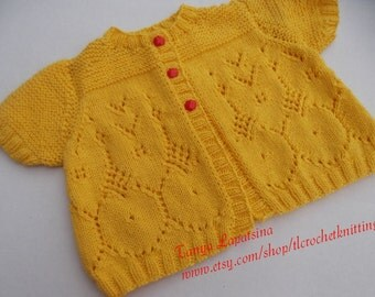 Lace Baby Girl Cardigan. 12M. Hand Knit Baby Girl Cardigan. Short Sleeve Baby Cardigan. Yellow Lace Baby Girl Cardigan. Cotton Baby Cardigan