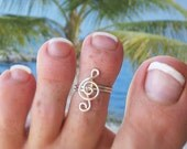 Treble Clef Toe Ring, Sterling Silver