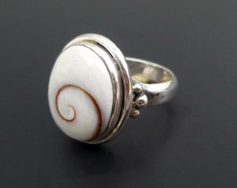 White Shell and Sterling Silver Ring - Custom Made Sterling Silver and Shiva Eye Ring - Handmade Silver Shell Ring - Made to Order