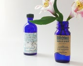 Vintage Cobalt Blue Bottles, French Rose Water Perfume Bottle,  Bromo Seltzer - vintagebiffann
