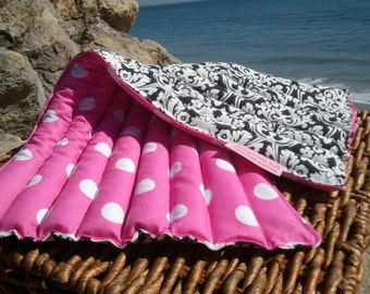 """Pink and White Polka Dots Therapy Pack Microwaveable Heating Pad 12""""x20"""" Lavender"""