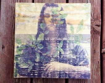 12x12 Mint green purple photography transfer on wood panel