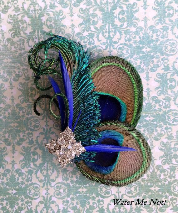 Customize-Peacock hair clip-clutch purse,sash, broach-Peacock Wedding-Peacock Bride