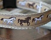 Ranch Dog Collar, Running Horse Ribbon Collar, Pet Collar, Adjustable Dog Collar, Sale Collar