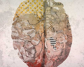 WONDERFUL ANATOMY - brain print // art print // wall decor // digital collage