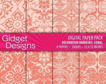 Coral Digital Paper Pack Damask Patterns Scrapbook Paper Printable Paper DIY Wedding Bridal Shower Engagement