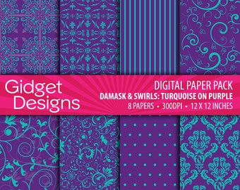 Purple Digital Paper Pack Damask Patterns Scrapbook Paper Turquoise Printable Paper