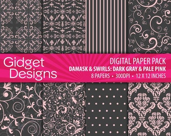 Dark Gray Digital Paper Pack DamaskPatterns Dark Gray Grey and Pale Pink INSTANT DOWNLOAD Printable