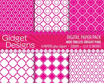 Pink Quatrefoil Digital Paper Pack Scrapbook Paper Magenta Fushia Clip Art Free for Commercial Use Printable Paper