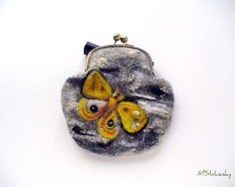 Wet Felted Butterflies coin purse Ready to Ship with bag frame metal closure Handmade gift for her