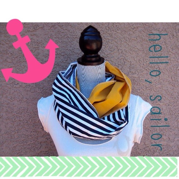 Navy and white sailor stripe with Antique gold infinity scarf