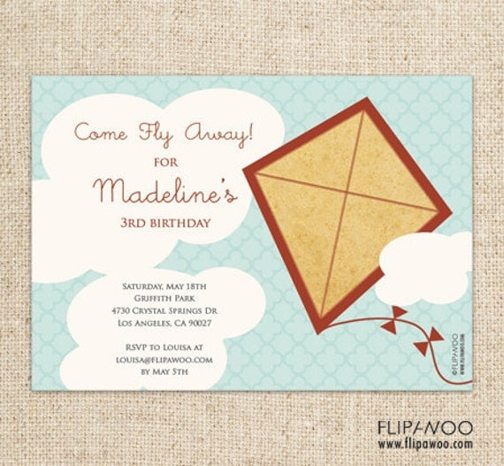 Kite Birthday Party or Shower Invitation by FLIPAWOO  - Customized Printable File